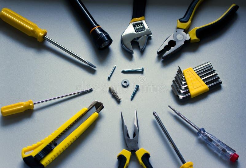 De hulpmiddelen en de apparatuur van Diy stock afbeeldingen