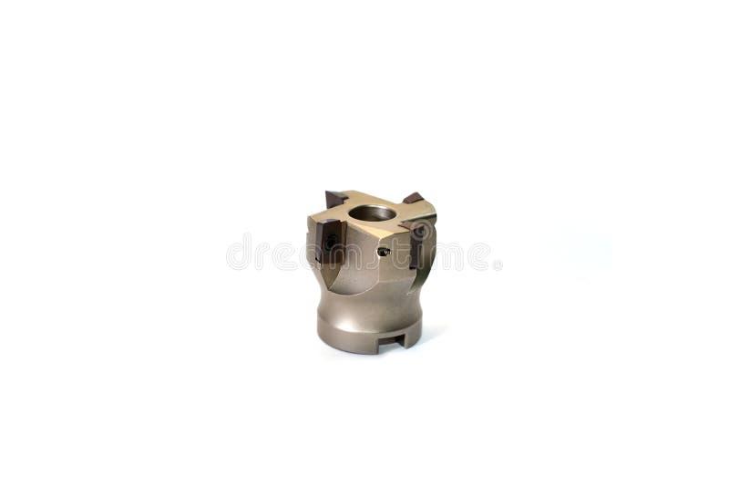 De hulpmiddelen/het materiaal van het metaalmalen met houder voor CNC machine voor zware industrie op witte achtergrond stock afbeelding
