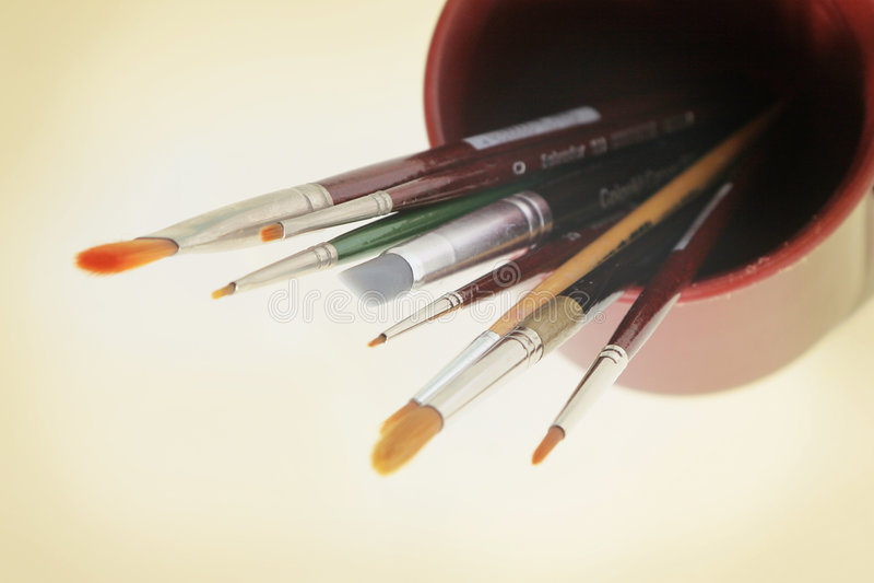 De hulpmiddelen van de kunst - borstels royalty-vrije stock afbeeldingen