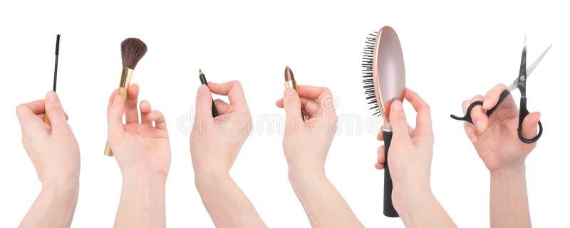 De Hulpmiddelen van de Make-up van de Salon van de kapper op Wit royalty-vrije stock foto