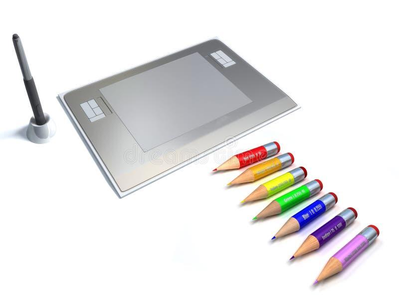 De hulpmiddelen van de ontwerper. De tablet van de pen vector illustratie