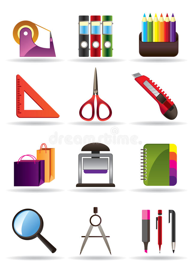 De hulpmiddelen van de school en van het bureau stock illustratie
