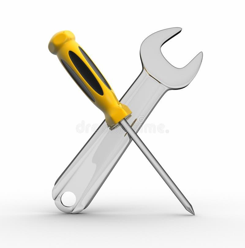 De hulpmiddelen van de schroevedraaier en van de moersleutel vector illustratie