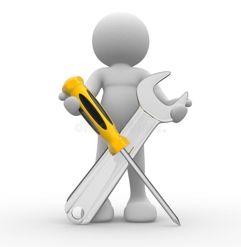 De hulpmiddelen van de schroevedraaier en van de moersleutel royalty-vrije illustratie