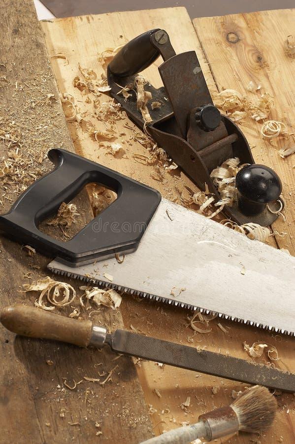 De hulpmiddelen van de timmerman stock afbeelding