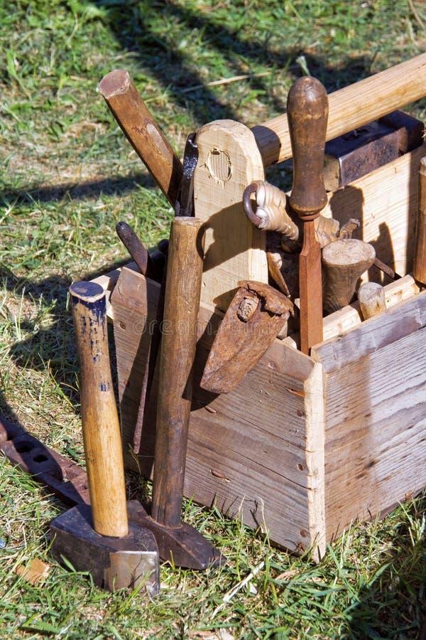 De hulpmiddelen van het timmerwerk stock afbeelding