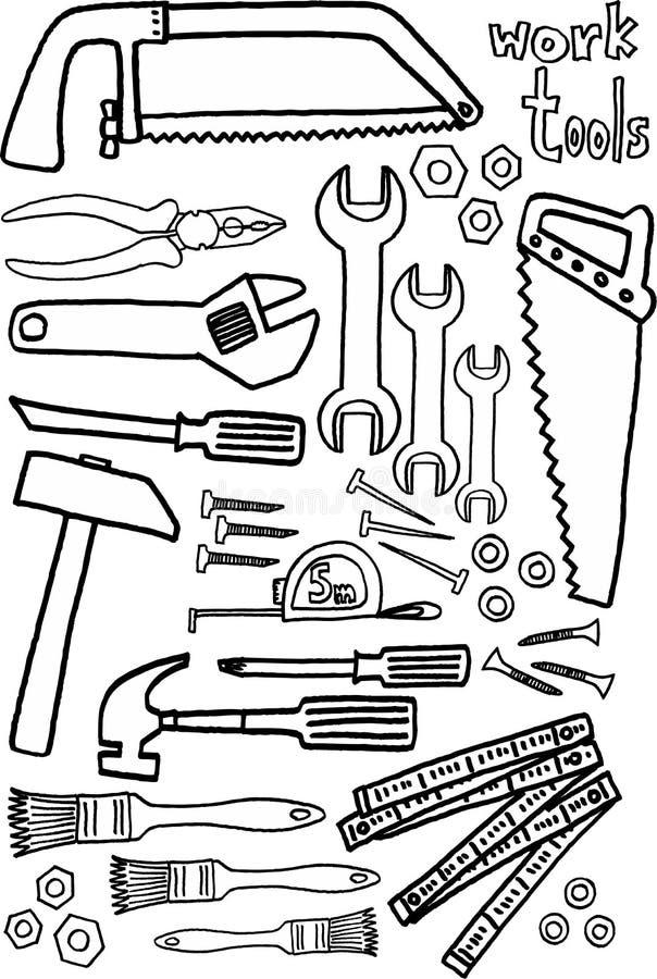 De hulpmiddelen van het werk stock illustratie