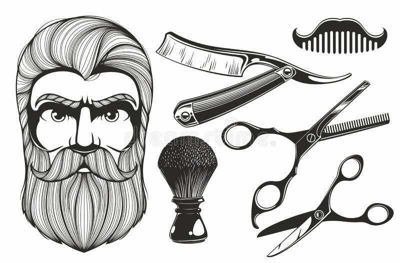 De hulpmiddelen van de kapperswinkel royalty-vrije illustratie