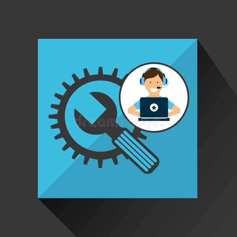 De hulpmiddelenontwikkeling van het programmeurkarakter vector illustratie