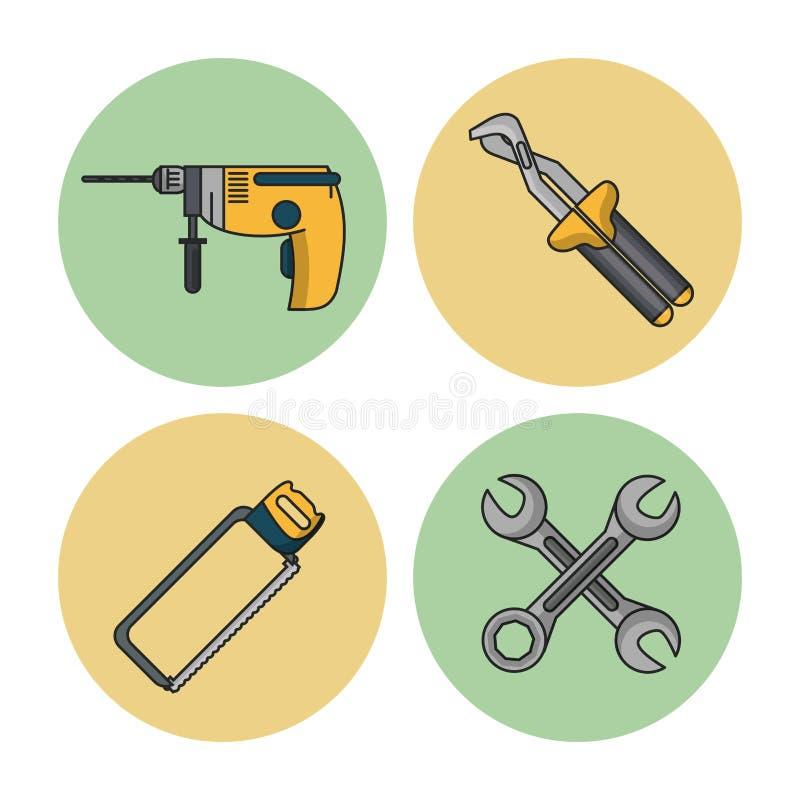De hulpmiddelenpictogrammen van de bouw stock illustratie