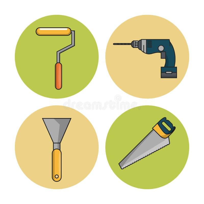 De hulpmiddelenpictogrammen van de bouw vector illustratie