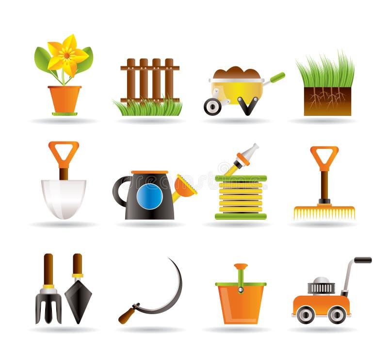 De hulpmiddelenpictogrammen van de tuin en het tuinieren royalty-vrije illustratie