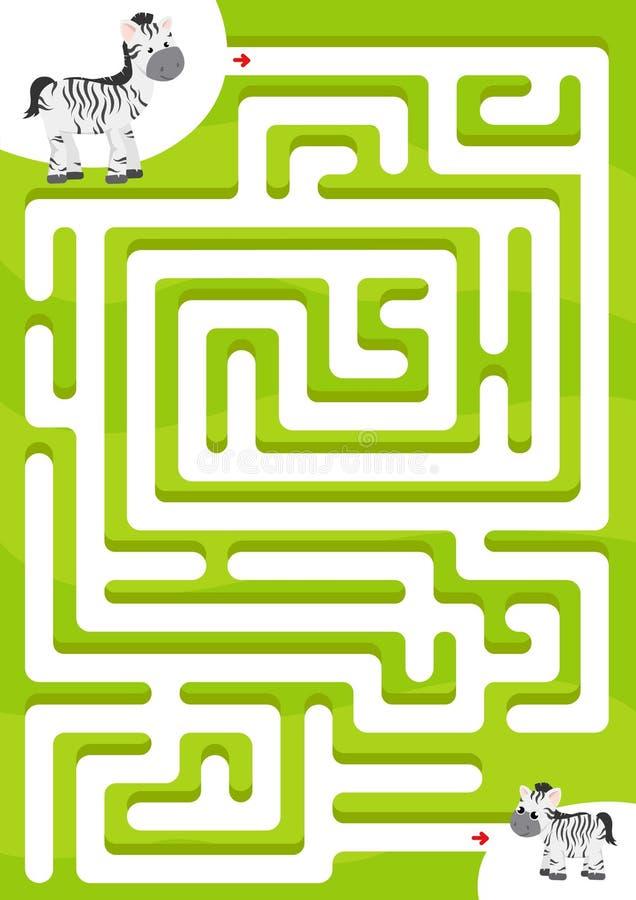 De hulpzebra vindt de zoon Het spel van het labyrint voor jonge geitjes royalty-vrije illustratie