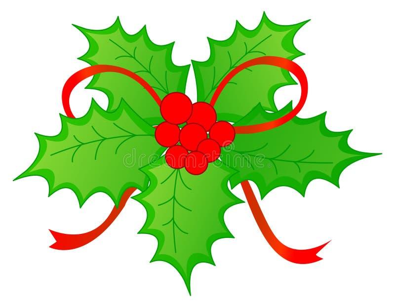 De Hulst van Kerstmis & rode bessen vector illustratie