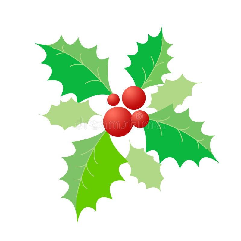 De Hulst van Kerstmis & rode bessen stock illustratie