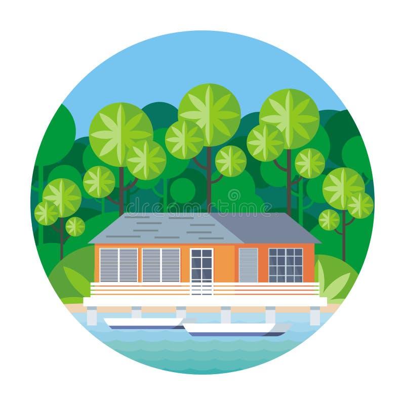 de hut bij water vector illustratie