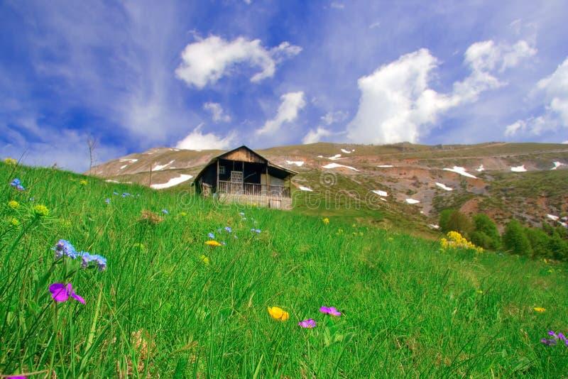 De hut van de berg en een weide in Macedonië stock foto's