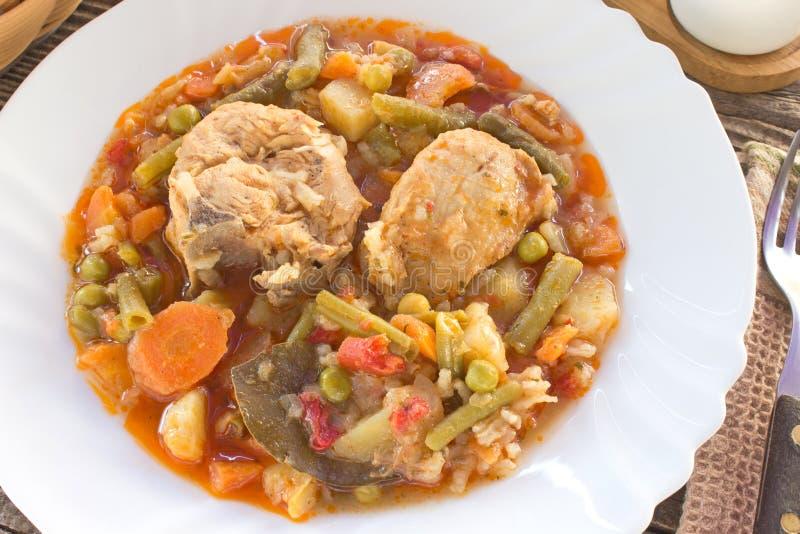 De hutspot van het kippenvlees met groenten en rijst royalty-vrije stock afbeelding