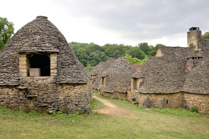 De hutten van de steen in Breuil, Frankrijk royalty-vrije stock fotografie
