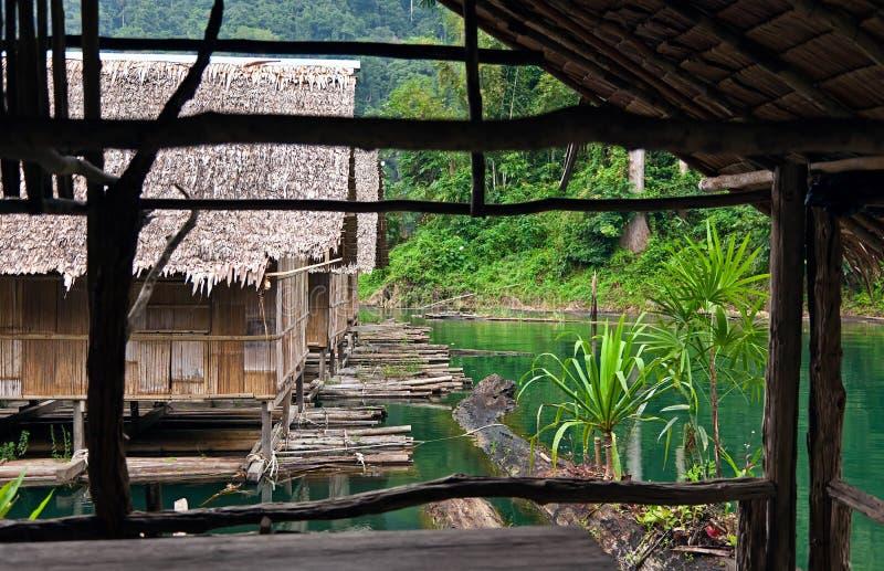 De hutten van het bamboe stock foto