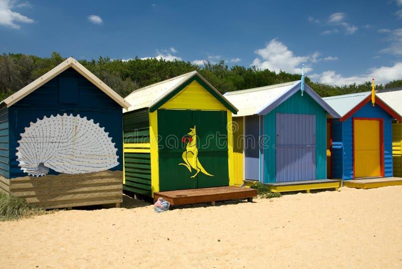 De Hutten van het strand stock fotografie