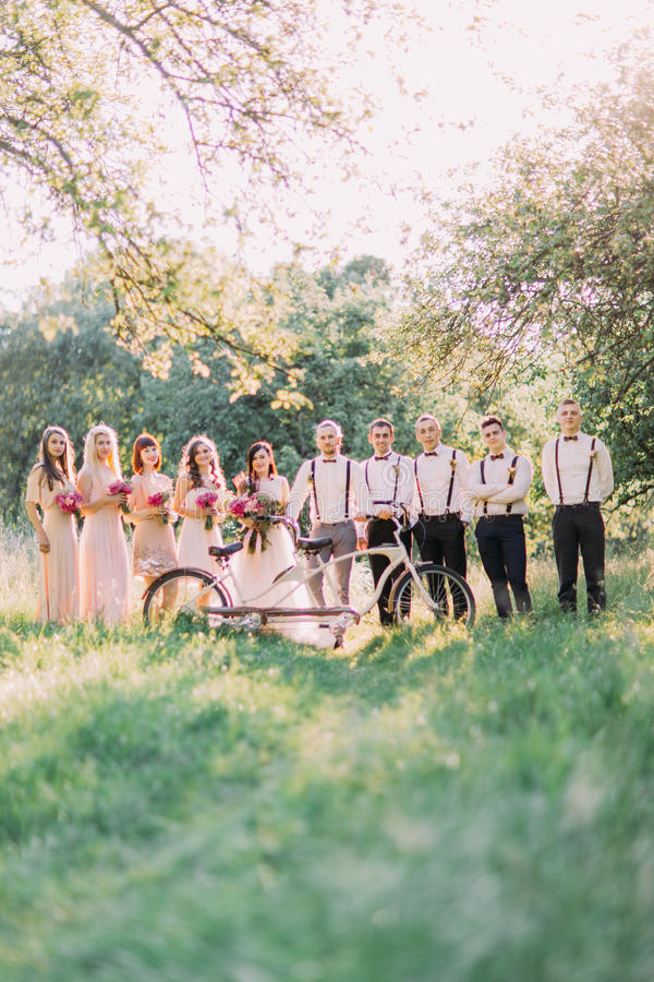 De huwelijkssamenstelling als de jonggehuwden, de bruidsmeisjes en de getuigen achter de witte fiets in het midden van zonnig stock foto