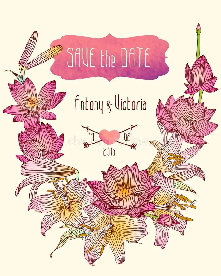 De huwelijksuitnodiging bewaart het datummalplaatje met lotusbloem en koninklijke leliebloemen royalty-vrije illustratie