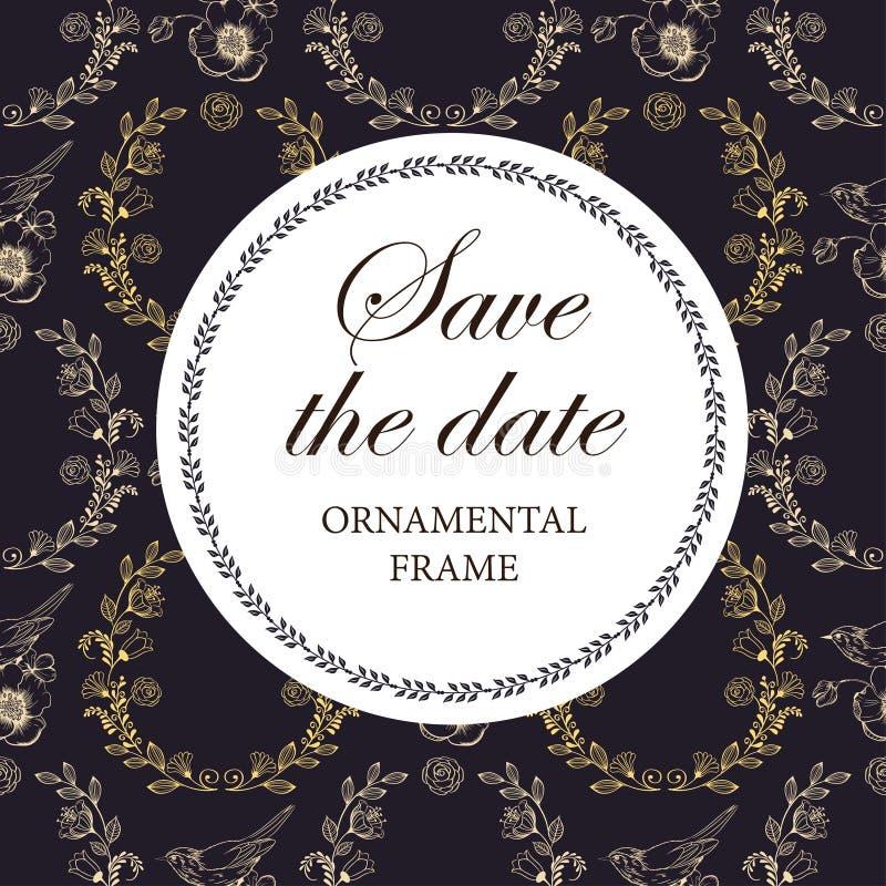 De huwelijksuitnodiging, dankt u kaardt, sparen de datumkaarten stock illustratie