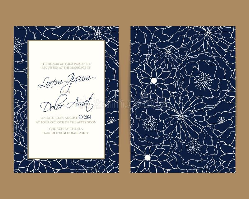De huwelijksuitnodiging en bewaart de datumkaarten vector illustratie