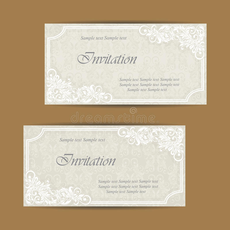 De huwelijksuitnodiging en bewaart de datumkaarten stock illustratie