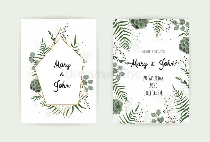 De huwelijksuitnodiging met groen blad, eucalyptus vertakt zich, het decoratieve patroon van het kroonkader Vector elegante water stock illustratie
