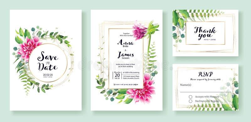 De huwelijksuitnodiging, sparen de datum, dankt u, rsvp het malplaatje van het kaartontwerp Vector Roze dahliabloemen, varenblad, royalty-vrije illustratie