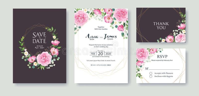De huwelijksuitnodiging, sparen de datum, dankt u, rsvp het malplaatje van het kaartontwerp Vector De roze de zomerbloem, nam, zi vector illustratie