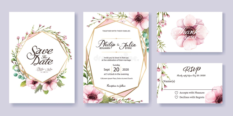 De huwelijksuitnodiging, sparen de datum, dankt u, rsvp kaartmalplaatje royalty-vrije illustratie