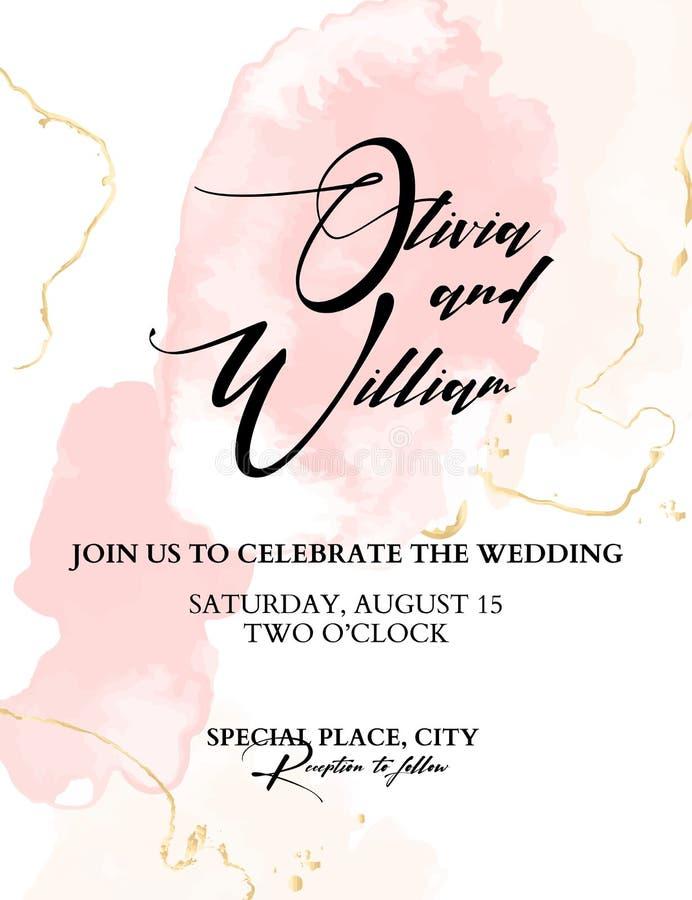 De in huwelijkswaterverf bloost Vector Elegante Achtergrond met plonsen en gouden textuur, kalligrafische tekst Hand-drawn offert stock illustratie