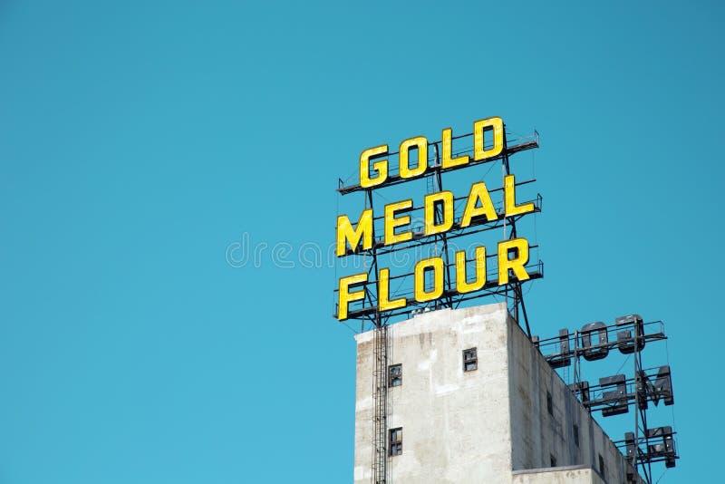 De iconische bloem van de teken Gouden medaille in Minneapolis royalty-vrije stock afbeelding