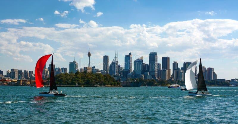 Is de iconische horizon van Sydney ` s ontworpen tussen twee kleurrijke zeilboten die de stads` s mooie haven varen royalty-vrije stock afbeelding