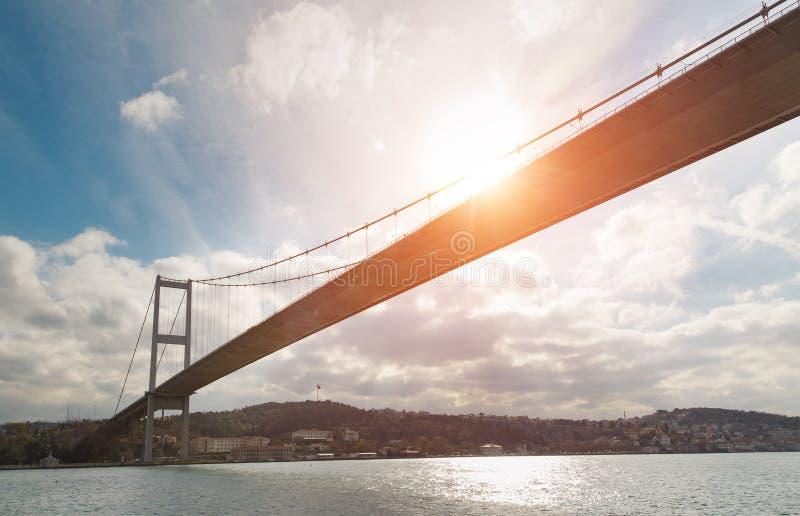 De iconische mening van Istanboel met de Bosphorus-Brug royalty-vrije stock afbeelding