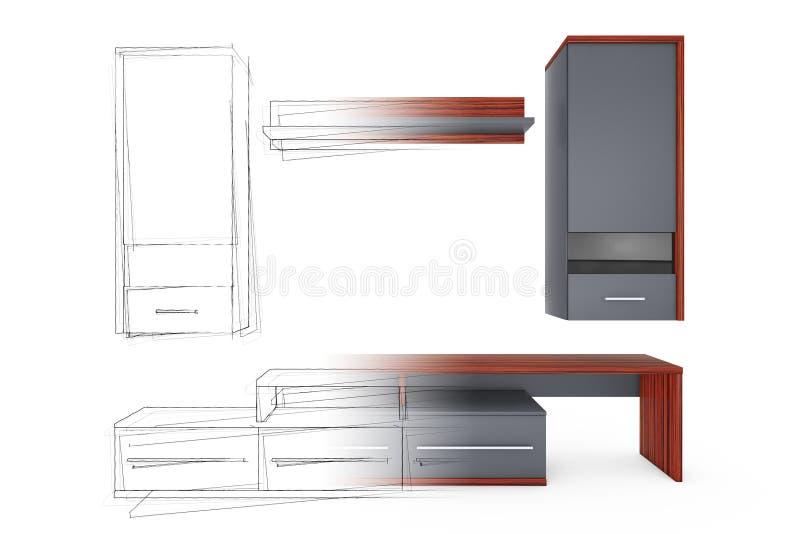 De idea del dibujo de la mano de los bosquejos a la unidad de pared moderna de la sala de estar stock de ilustración