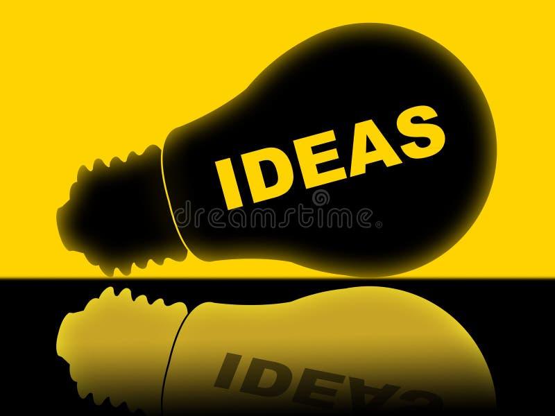 De ideeën Lightbulb wijst op Heldere Conceptie en Innovaties vector illustratie