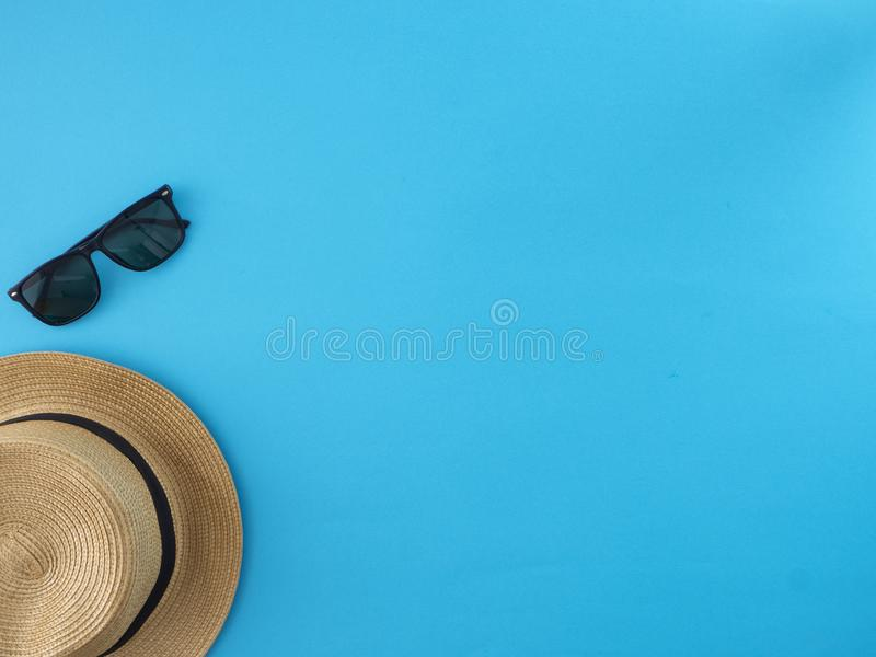 De ideeën van de de zomerreis en strandvoorwerpen stock foto's