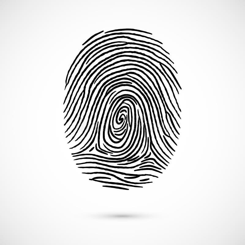De identificatie van het vingerafdrukpictogram Vector illustratie die op witte achtergrond wordt geïsoleerdd vector illustratie
