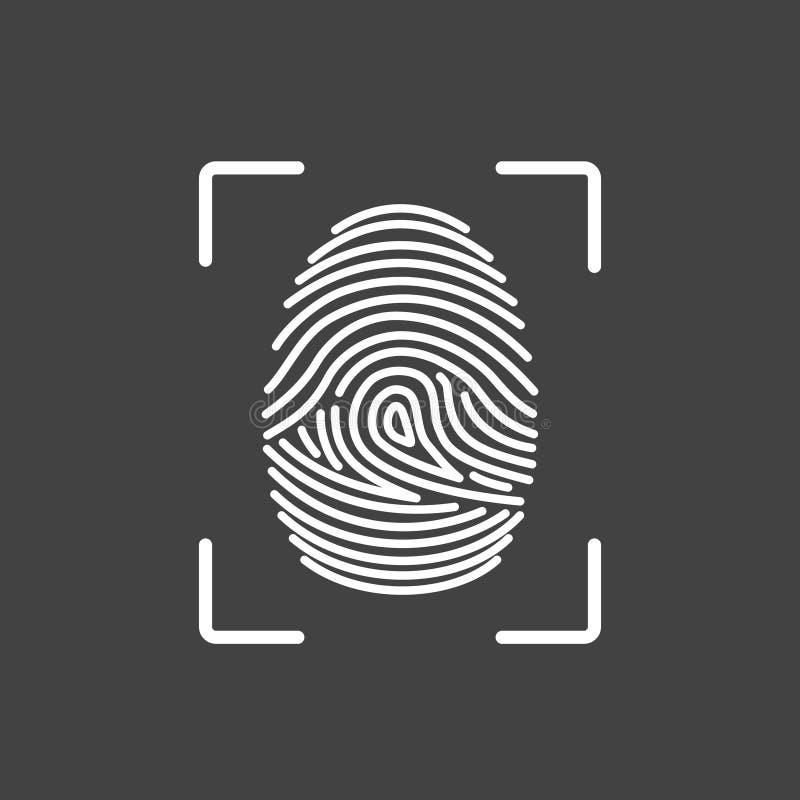 De identificatie van het vingerafdrukpictogram Veiligheid en toezichtsysteem vector illustratie