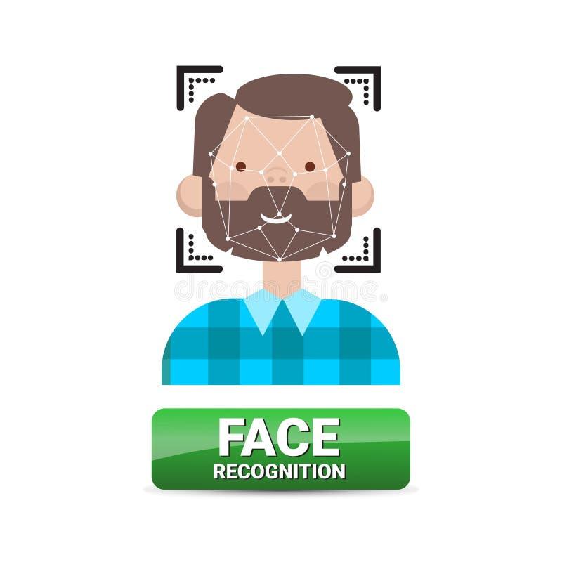 De Identificatie van de Knoopbiometrical van de gezichtserkenning op Mannelijk de Technologieconcept van het GezichtsToegangsbehe vector illustratie
