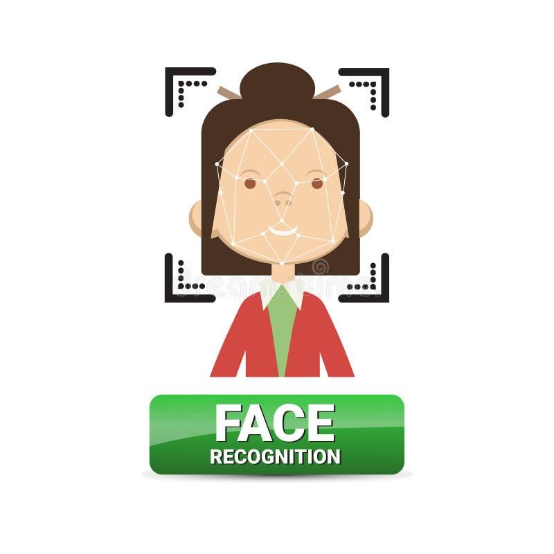 De Identificatie van de Knoopbiometrical van de gezichtserkenning op Vrouwelijk de Technologieconcept van het GezichtsToegangsbeh royalty-vrije illustratie