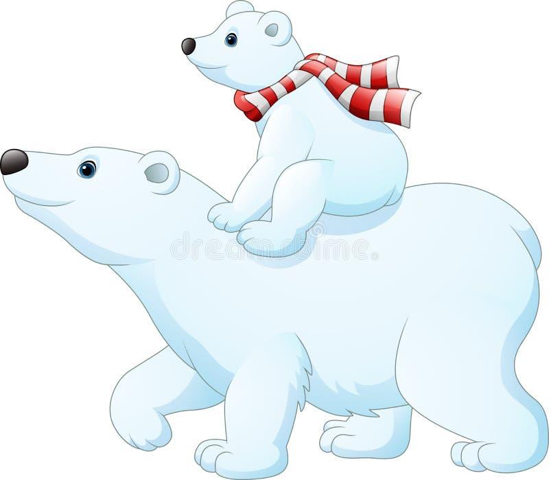 De ijsbeer die van de beeldverhaalbaby op haar moeder` s rug berijden vector illustratie