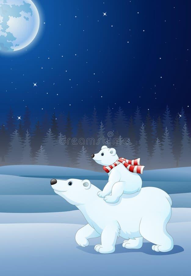 De ijsbeer die van de beeldverhaalbaby op haar moeder` s rug berijden stock illustratie