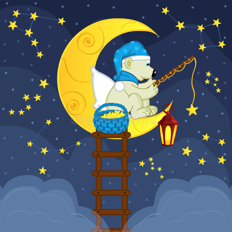 De ijsbeer op de maan vangt de aassterren vector illustratie