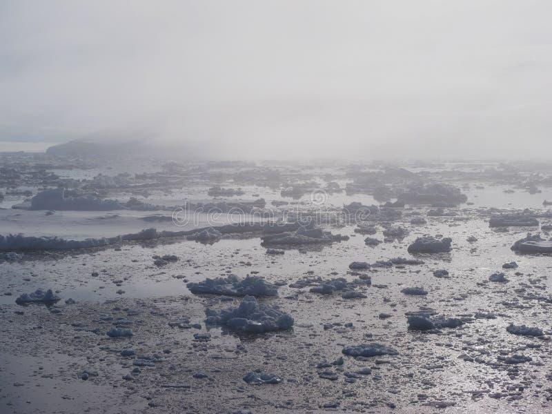 De ijsberglandschap van Antarctica in mist stock afbeeldingen