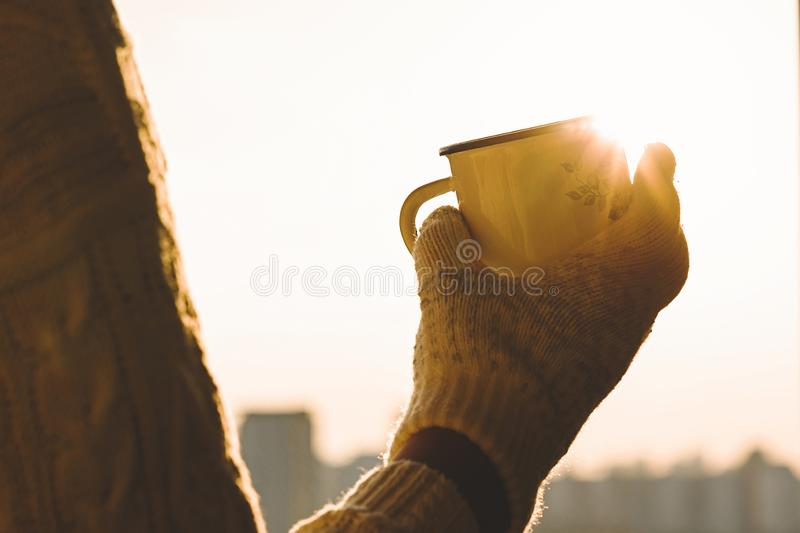 De ijzermok met hete thee in wijfje dient gebreide vuisthandschoenen op een de winter ijzige dag tegen zonsonderganghemel in royalty-vrije stock afbeeldingen